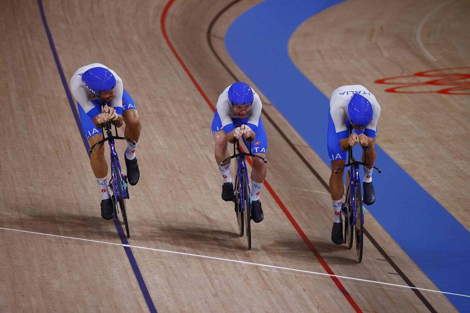 Inseguimento a squadre Tokyo 2020, l'arrivo (Foto Bettini, Courtesy Federciclismo)